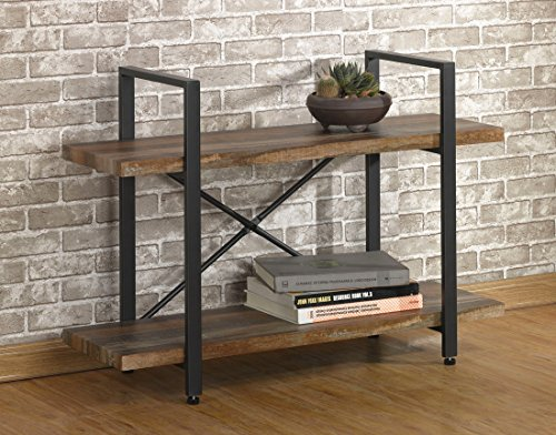 O&K Furniture 2-Tier Rustic Wood Metal
