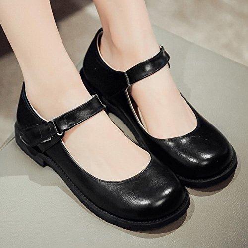 Jolies Chaussures À Boucles Et Crochets Pour Femme Latasa Mary Janes Chaussures Noires