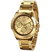 JewelryWe Mens Wrist Watches Gold Stainless Steel Analog Display Dial with Rhinestones