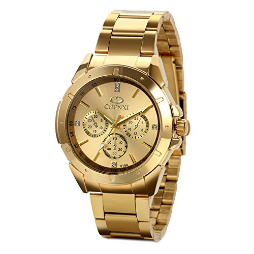 JewelryWe Mens Wrist Watches Gold Stainless Steel Analog Display Dial with (Gold Gentlemans Wrist Watch)