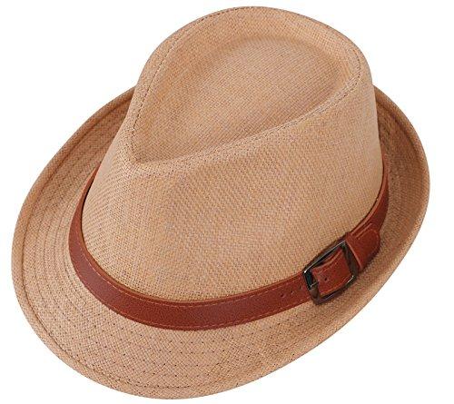 Men's/Womens Straw Fedora Trilby Hat Beach Sun Hats Khaki Hat Brown Belt 59cm ()