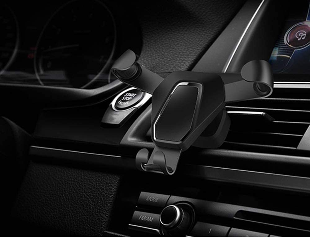 DARK BRAVE Multi-Function air Outlet Universal 360/° Rotating Gravity car Phone Holder Navigation Hands-Free,Black Thick pad Reserved Mobile Phone Charging Interface
