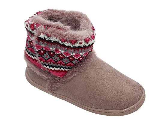 Ladies Coolers Heather Fluffy Warm Lined Bootee Slippers Sizes 3 4 5 6 7 8 99oX6D