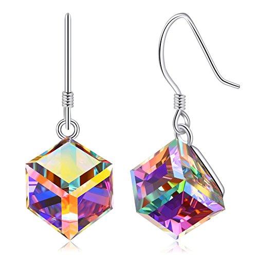 Cat Sterling Silver Key Ring - Colorful White Swarovski Crystals Earrings, Cat Eye Jewels Rose Quartz S925 Sterling Silver Dangle Drop Earrings for Women E02-SWD-W