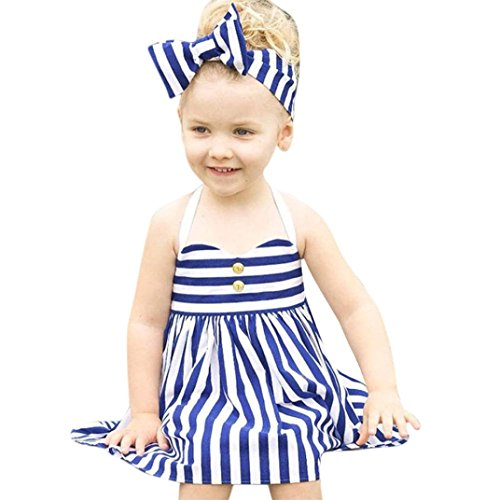 Price comparison product image GBSELL 2PCS Toddler Kids Baby Girls Clothes Navy Style Summer Dress + Headband Sets (Blue
