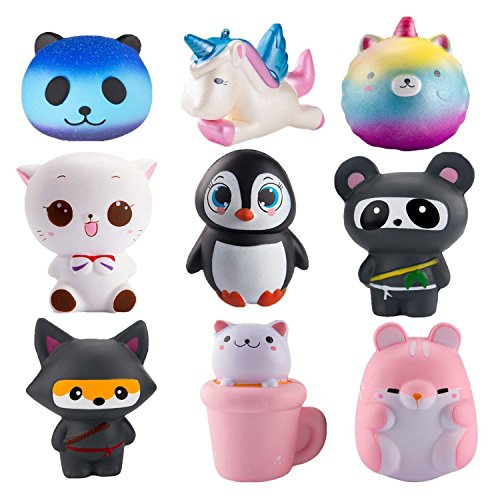 WATINC Random 6Pcs Jumbo Cute Animal Squishy Sweet Scented Vent Charms Slow Rising squishies Kawaii Kid Toy, Lovely Stress Relief Toy, Animals Gift Fun Large(WT-6p Animal (Vents Logo Set)