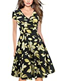 oxiuly Women's V-Neck Cap Sleeve Floral Casual Work Stretch Swing Dress OX233 (L, Yellow)