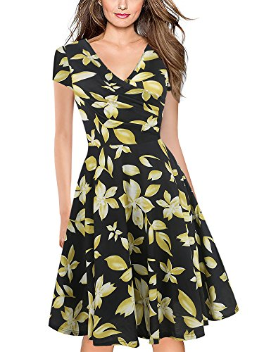 oxiuly Women's V-Neck Cap Sleeve Floral Casual Work Stretch Swing Dress OX233 (XL, Yellow)