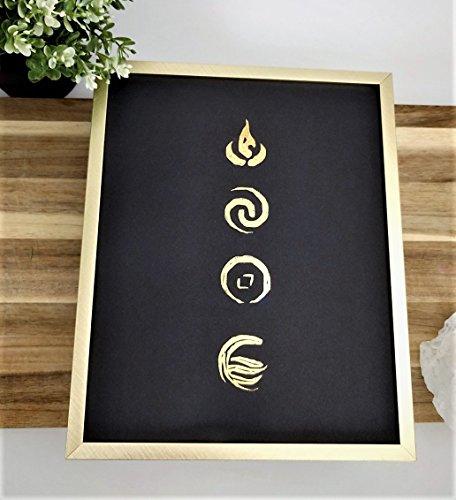 Avatar Element Symbols Gold & Black Poster- Metallic Foil Wall Accent