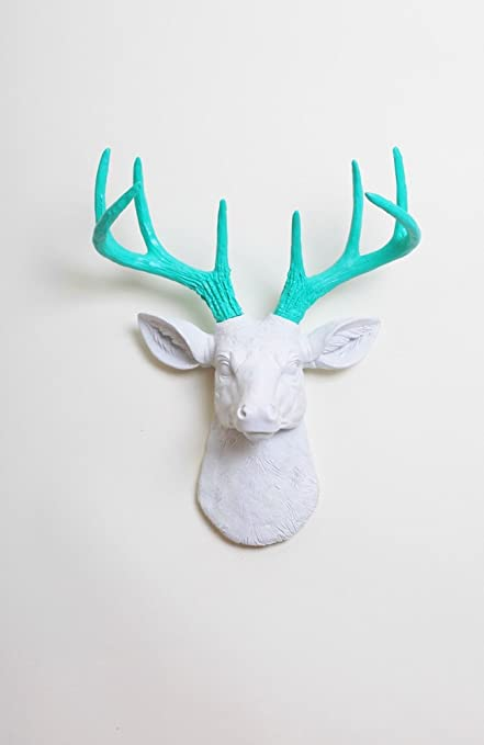 Captivating Mini Deer Decor: The Mini Oleg | Miniature Resin White Resin Deer Head W/