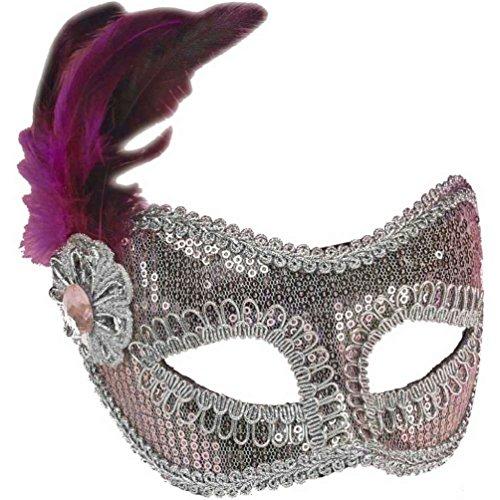 Light Pink and Silver Sequin Fashion Masquerade Venetian Mardi Gras Eye (Silver Sequin Eyemask)