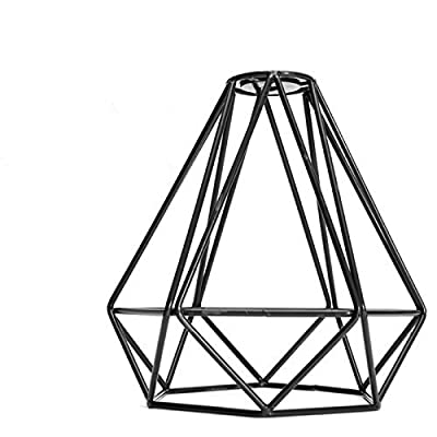 EFINEHOME Efine Replacement Lofe Minimalist Vintage Industrial Hanging Lamp Diamond Shape for Pendant Lamp Decor Chandelie Metal Cage Lamp Guard Black No Wire