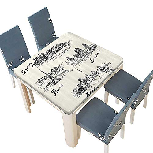 PINAFORE Waterproof SpillProof Tablecloth Silhouettes of Different Popular Cities in The World Paris Sidney for Picnic,Outdoor or Indoor Party use 45 x 45 INCH (Elastic Edge) ()