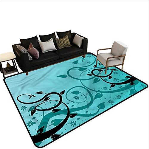 Teal,Dining Table Rugs 60
