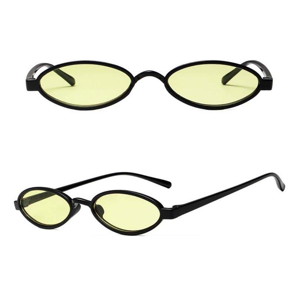 ee137ca7ce Amazon.com  Mini Oval 90 s Cat Eye Vintage Sunglasses Thin Retro Narrow  Fashion Clout Skinny Shades (Black + Pink Tinted Lens)  Clothing