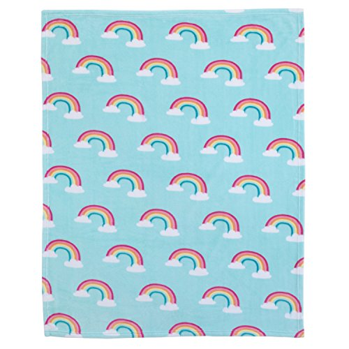 Carter's Rainbow Super Soft Coral Fleece Toddler Blanket, Sky Blue, White, Pink, Yellow ()
