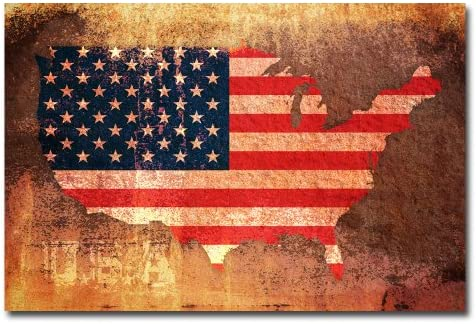 US Flag Map by Michael Tompsett, 22×32-Inch Canvas Wall Art