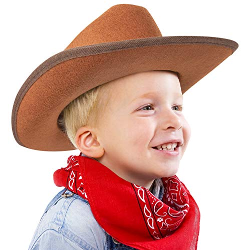 Narwhal Novelties Junior Cowboy Hat, Brown with Bandanna, Red; Bandanna & Cowboy Hat for Kids, Unisex