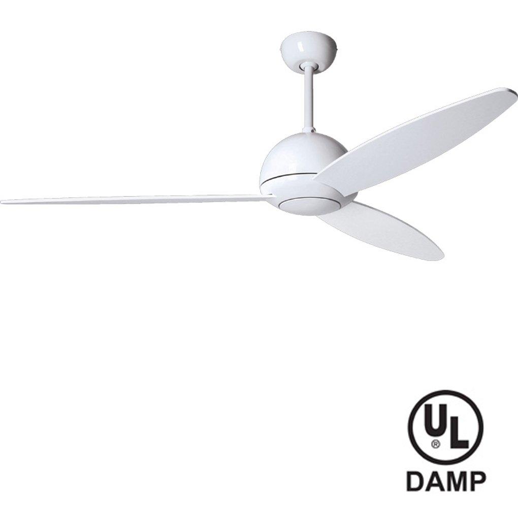 Modern Fan PLU-GW Plum Gloss White Outdoor 52'' Ceiling Fan with PLU-BL-52-WH Blades