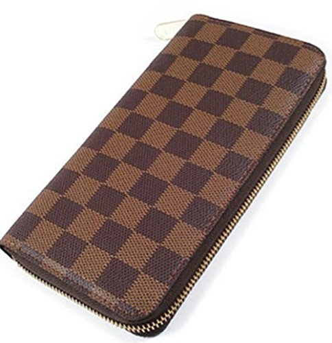 Bushels Handbags Inspired Women's Purse Designer Brown Grid Pu Leather Ladie's Wallet (Vuitton Louis Fake Handbags)