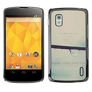 Qstar Arte & diseño plástico duro Fundas Cover Cubre Hard Case Cover para LG Google NEXUS 4 / Mako / E960 ( Raindrop Falling Mist Grey Rain Spring Text)