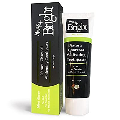 Always Bright Activated Charcoal Teeth Whitening Toothpaste | Mint Flavor | 3.5 Oz