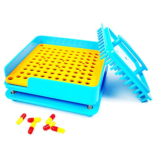 - 100PCS Capsule Holder Size 00 Plate, Capsule Filler Machine Tray,Manual Powder Filling Machine for Size 00-100 Holes Tamper (Blue)