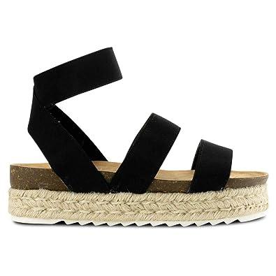 f7508c73ceac Women Casual Espadrille Slide On Platform Sandals Comfort Open Toe Ankle  Elastic Strappy Studded Flatform Sandal
