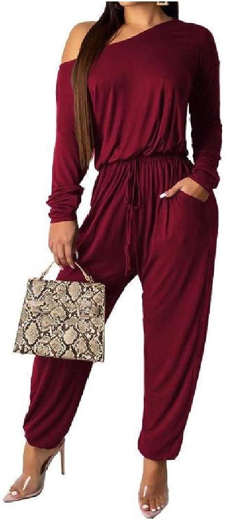 SportsX Womens Autumn Pure Color Long Sleeve Off Shoulder Baggy Playsuit