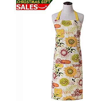 KINGO HOME Christmas Gift - Women Bib Kitchen Apron, with Pockets, Cotton Canvas, Machine Washable