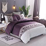 Light Purple Duvet Cover Queen Purple Duvet Cover Queen Modern Reversible Boho Purple/Beige Convallaria Printed Bedding Duvet Cover with Zipper Closure & 2 Pillow Cases Lightweight Microfiber (3 Pieces, Queen Size)