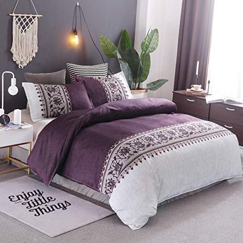 Purple Duvet Cover Queen Modern Reversible Boho Purple/Beige Convallaria Printed Bedding Duvet Coverwith Zipper Closure & 2 Pillow Cases, Lightweight Microfiber Bedding Set (3 Pieces, Queen Size) (Cover White Duvet Purple And)