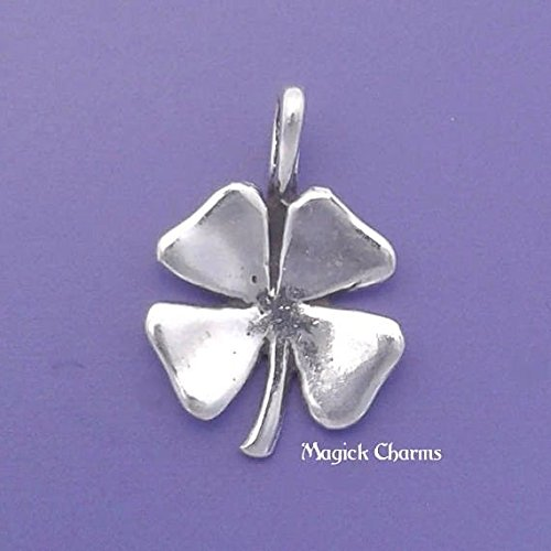 Four Leaf Clover Charm 925 Sterling Silver Lucky Irish Shamrock Pendant Jewelry Making Supply, Pendant, Charms, Bracelet, DIY Crafting by Wholesale Charms ()