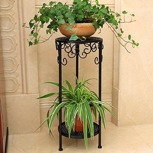 (Flower Stand/Plant Stand Vintage Wrought Iron Flower Stand, Stylish 2-Layer Plant Flower Stand Garden Plant Storage Rack Indoor Living Room Balcony Plant Stand/Flower Pot Rack)