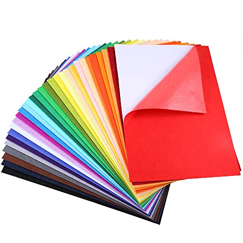 Caydo 30 Pieces 30 Colors Adhesive Back Felt Sheets Fabric Sticky Back Sheets, 8.3 by 11.8