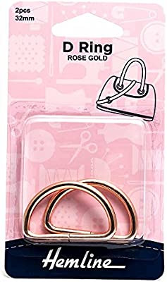 20mm Rose Gold 2 Pack Hemline D Ring