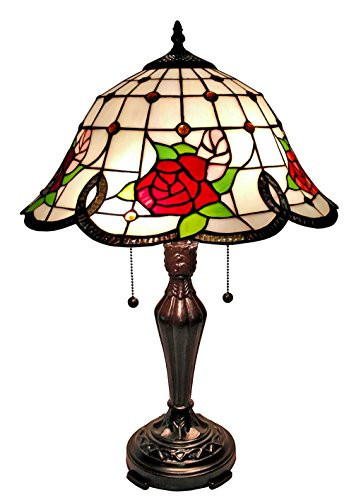 Amora Lighting Tiffany Style AM045TL16 Floral Table Lamp, 24