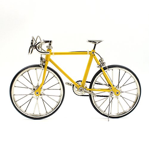 T.Y.S Racing Bike Model Alloy Simulated Road Bicycle Model Decoration Gift, Christmas Brithday Gifts for Dad, Boy and Cyclist, Yellow