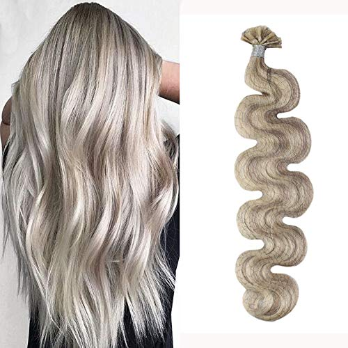 (Moresoo 18 Inch Wavy U Tip Hair Extensions #18 Mixed with #613 Bleach Blonde Human Hair U Tip Extensions 1g/1s Fusion Hair Extensions U Tip 50g Per Pack )
