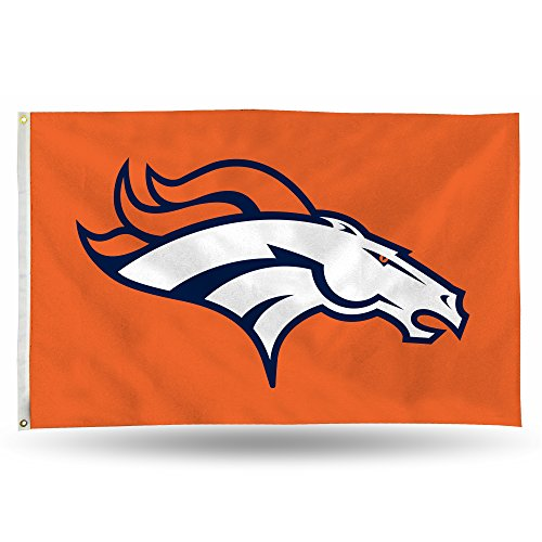 Rico NFL Denver Broncos 3-Foot by 5-Foot Single Sided Banner Flag with -