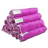 Coway 100% Bamboo Fiber Kitchen Dish Towels 4 Pack 11x12 Inch Purple