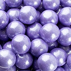 "SweetGourmet Color Splash - Glimmer Pearl Lavender/Purple Gumballs, Grape Flavor (Big (1""), 1Lb)"