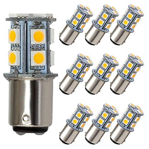 GRV Ba15d 1076 1142 High Power Car LED Bulb 13-5050SMD DC 12V Warm White Pack of 10