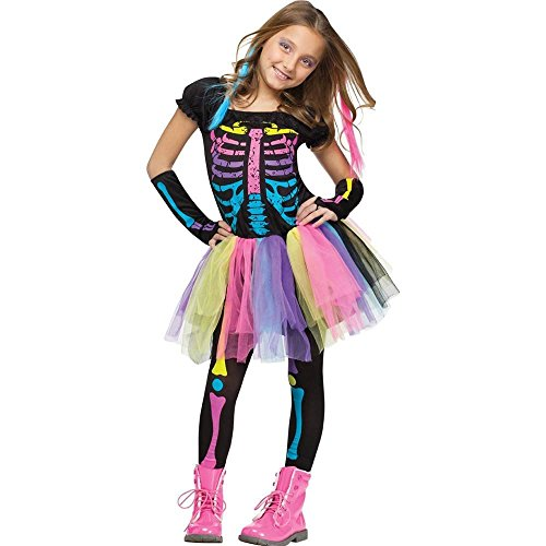 Blue Witch Costumes For Kids (Fun World Funky Punk Bones Child's Costume Medium (8-10))