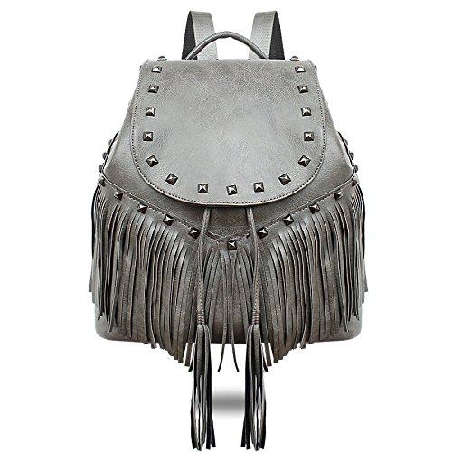 KYOKIM Bolso Boho Ligero BackPack De Cuero Cómodo Para Mujer Y Adolescente Grey