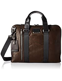 Tumi Men's Alpha Bravo Aviano Slim Brief Briefcase, Dark Brown, One Size