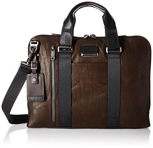 Tumi Men's Alpha Bravo Aviano Slim Brief Briefcase, Dark Brown, One Size by Tumi