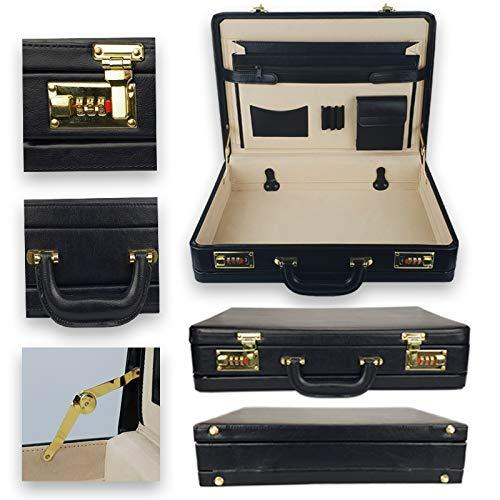 メンズExpandabeブリーフケースAttachéトラベルキャリーケースPUレザーコンビネーションロック付きブラックトップクオリティL45 x H32 x D11 cm   B07PF87KNJ