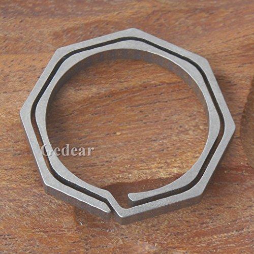 TIKING 1pc Titanium TC4 Ti Key Chain Octagon Key Ring Keychain CNC Size L 30mm 2.7g (Large:30mm)