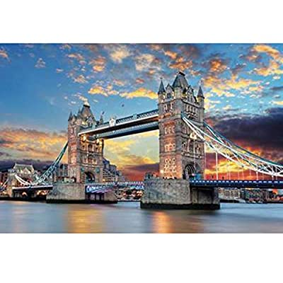 Limsea 1000 Pieces Wooden Thames London Tower Bridge Jigsaw Puzzle,Wooden Multicolour Large Format Tower London Bridge Sunset Glow Night View Wall Decoration Architecture 1000 Pieces Puzzle: Clothing